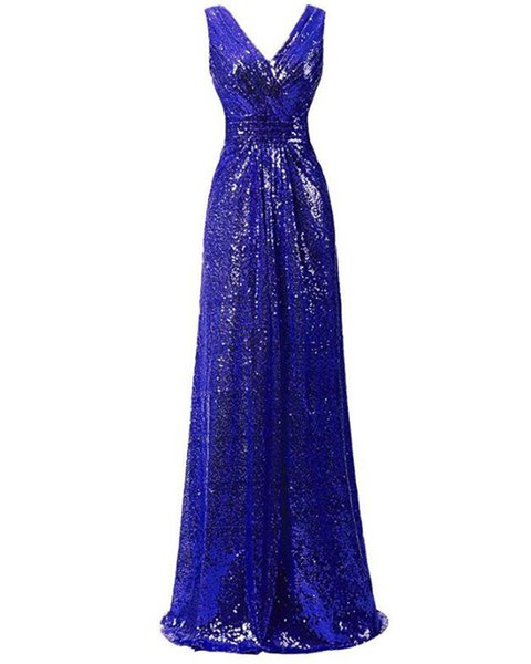 Sparkly Rose Gold V-Neck Sequin Long Prom Dress A Line Sexy Formal Evening Party Gowns Floor Length Women Prom Gowns Plus Size 2019 Arabic