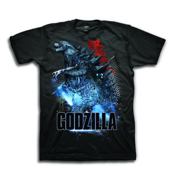 Godzilla Men's Destruction Shot Short Sleeve Graphic T-Shirt knitted comfortable fabric street style men t-shirt Quality top Quality Cotton