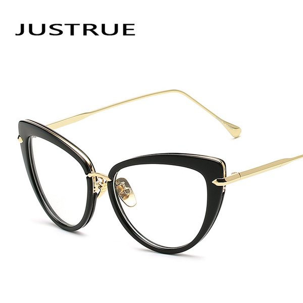 f9a5d84a5b9 JUSTRUE Lady Cat eye Eyeglasses Optical Glasses Frame Clear lenses  Spectacles Women Female Vintage glasses Replaceable