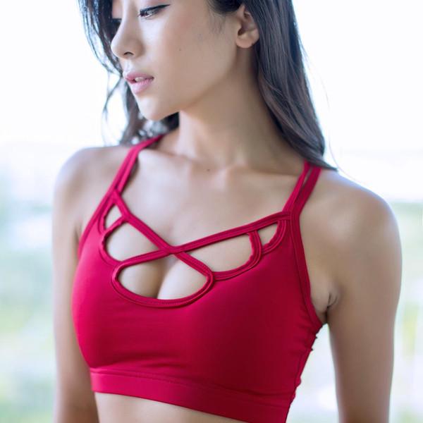 Sexy Red Yoga Hollow Bra Beautiful Sports Top Mujeres Transpirable Transpirable de secado rápido Pétalos Fitness Gym Running Mujer Deporte Brassiere
