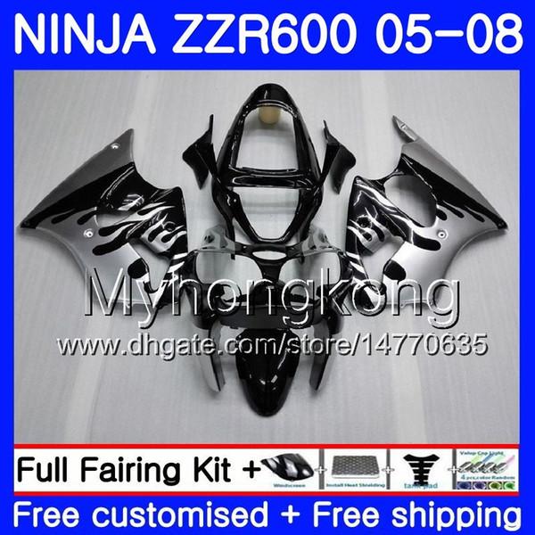 Kit Para KAWASAKI NINJA ZZR600 2005 2006 2007 2008 Carroçaria 219HM.42 ZX600 CC ZZR-600 600CC ZZR 600 05 06 07 08 Carenagem Flama de Prata Stock