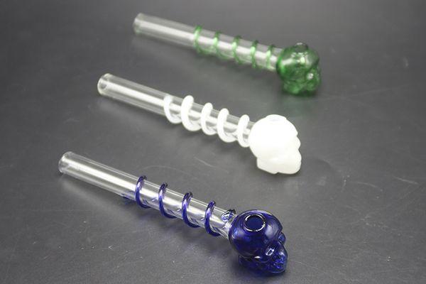 Tuyau en verre Pyrex Brûleur à huile en verre coloré Tête en verre à tube crâne Tuyau à ongles Tuyau à huile Tuyaux épais Fumer de la pipe à narguilé