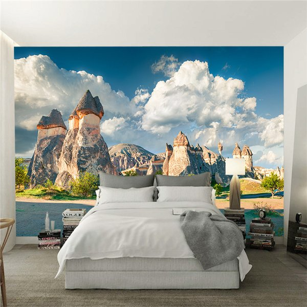 Custom any size 3D Wallpaper Modern Fashion Stone House Beautiful Natural Landscape White Cloud Background Wall Mural Decoration