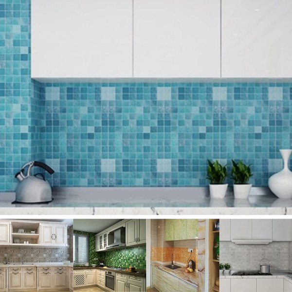 wallpapers for 45*200cm Self-adhesive Wallpaper for Kitchen Mosaic Wall Sticker Anti Oil Aluminum Foil Sticker High Temperature Resistant