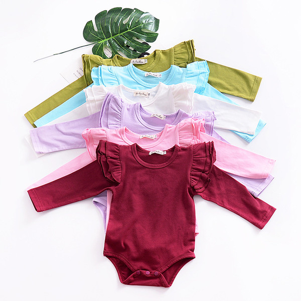 2018 New Baby Rompers Boutique Infant Baby Clothes Fly Long Sleeve 100% Cotton Baby Onesie Kids Children Toddler Girls Clothing 8 Colors