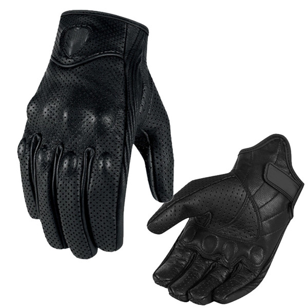 2018 Vintage Perforated Leather Full Finger Black Motorcycle Men's Motorcycle Gloves Cover Gloves