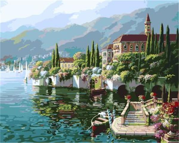 Lakeside view 16x20 inches DIY Paint On Canvas drawing By Numbers Kits Art Acrylic Oil Painting Frame For Adult Teen