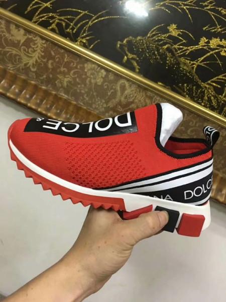 2019 Branded Men Stretch Jersey Sorrento Slip-On Urban Style Sneaker Designer Lady Zweifarbige Gummisohle Micro Sole Casual Schuhe 35-45