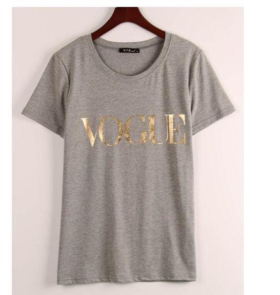 Vente en gros Mode d'or VOGUE T-shirts pour les femmes Lettre chaud Imprimer T-shirt court Tops manches grande taille Femme Tees T-shirt
