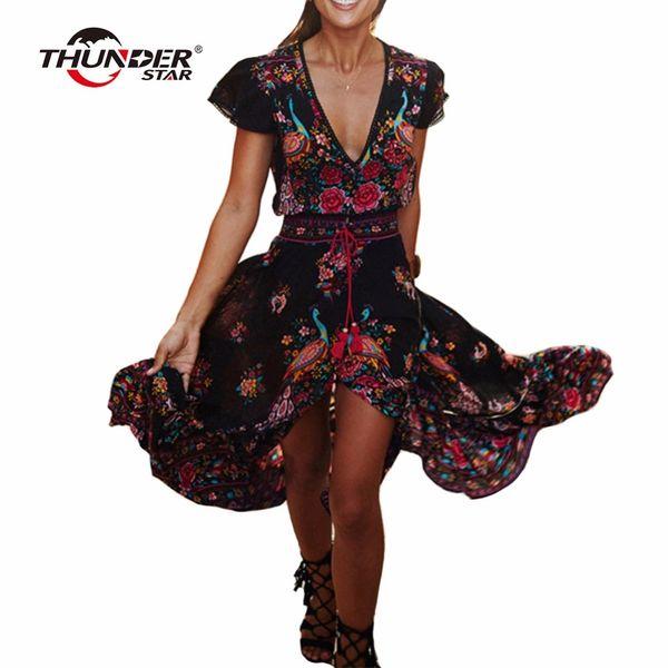 Summer Boho Dress Women Ethnic Sexy Print Retro Vintage Dress Tassel Beach Dress Bohemian Hippie Dresses Robe Vestidos Mujer LX4Y1882302