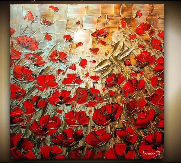 peint à la main rouge coquelicot couteau à palette lourde texture fleur peintures à l'huile oeuvre moderne wall art toile cadeaux uniques Kungfu Art