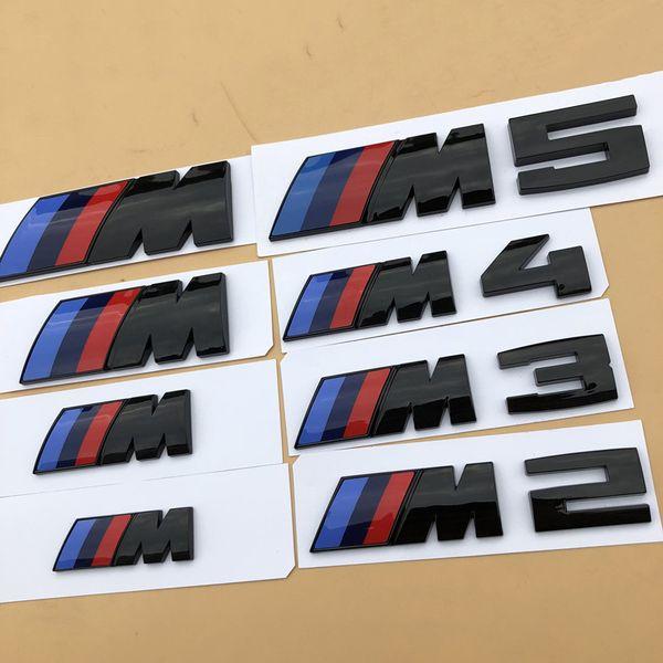 1pcs Noir brillant ABS 3D /// M M2 M3 M4 M5 Chrome Emblem Car Styling Fender Trunk Badge Logo autocollant pour BMW bonne qualité