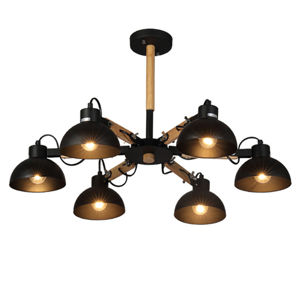 Modern simple pendant lights macaron 3/6/8 PCS E27 lamp holder Black / white material iron and wood LED droplight for foyer bedroom lighting