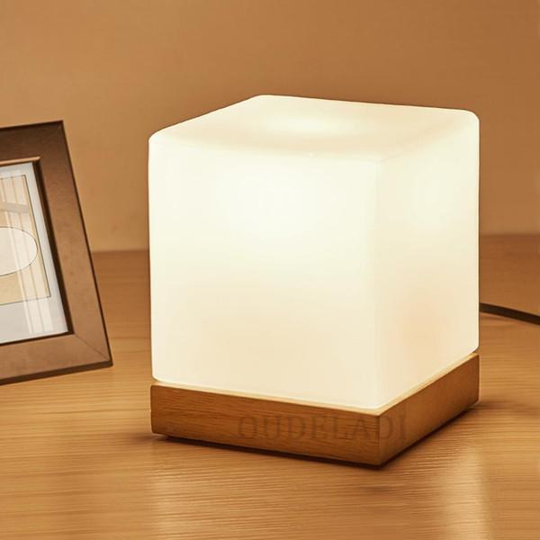 Acheter En Bois Moderne Led Lampes De Table Pour Salon Chambre Lits Meubles  Café De Maison Décoration Lumières Luminaire Verre Abat Jour Luminaire De  ...