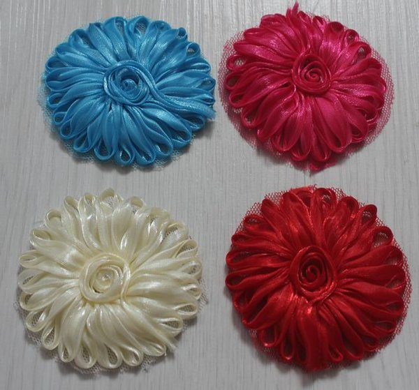 120pcs 2.5 inch polyester tulle mesh fabric flowers for girls headbands,fabric flower for kids hair accessories,hair bow flowers