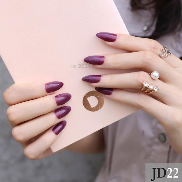 Compre Puro Nuevo Pico De Montaña Diseños Púrpura Borgoña Clavo Moda Punta De Uñas Completa Vampiro Color Stiletto Uñas Postizas Jd22 A 3533 Del