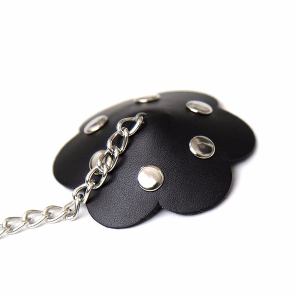 Sexy Pu Leather Pasties Women Alloy Chain Nipple Cover Punk Silicone Breast Petals Reusable Nipple Stickers