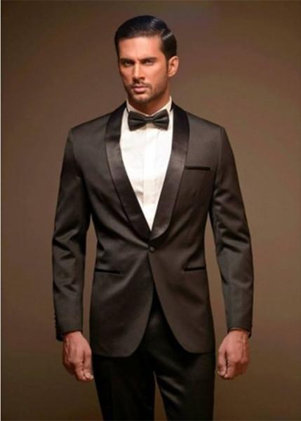 Brown Men Wedding Suits Shawl Lapel Slim Fit 2 Piece Custom Blazer Party Suit Groom Tuxedo (Jacket+Pants) L634