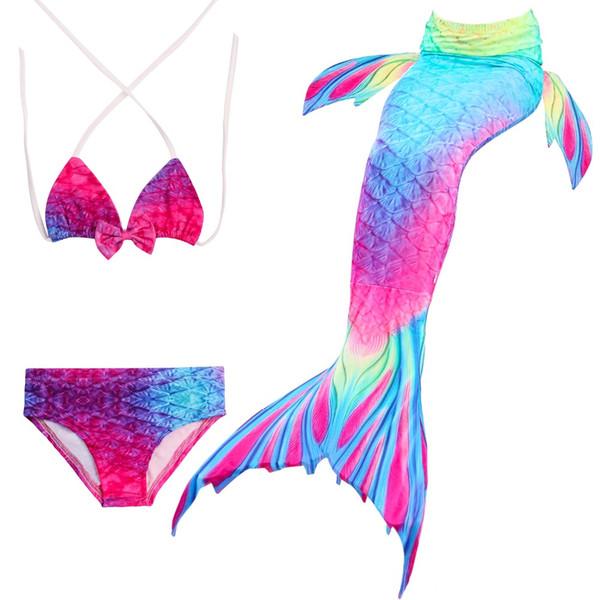 New 2018 HOT!Ariel Mermaid Tail Swimming Mermaid Tail with Flipper Bikini Girls Children Swimmable Costume Cosplay
