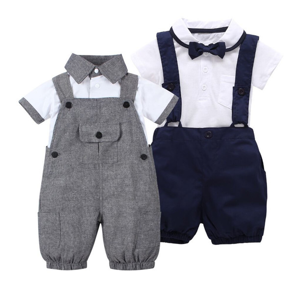 2018 summer style baby boy clothes set short sleeve T shirt +Coveralls 2pcs gentleman newborn baby clothing set Infant toddler Y18102207