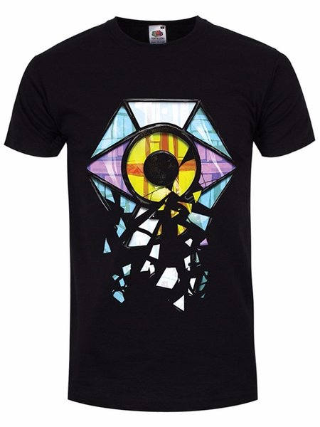 Round Collar Tee Shirts Tall Men's Shattered Stained Glass Eye T-Shirt Black O-Neck Short-Sleeve T Shirt For Men