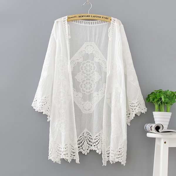 Vintage Crochet Kimono 2018 Frauen Strand Strickjacken Tops Spitze Boho Bluse Weiß Strand Sommer Tops Sexy Cut Out Casual Slim Bluse