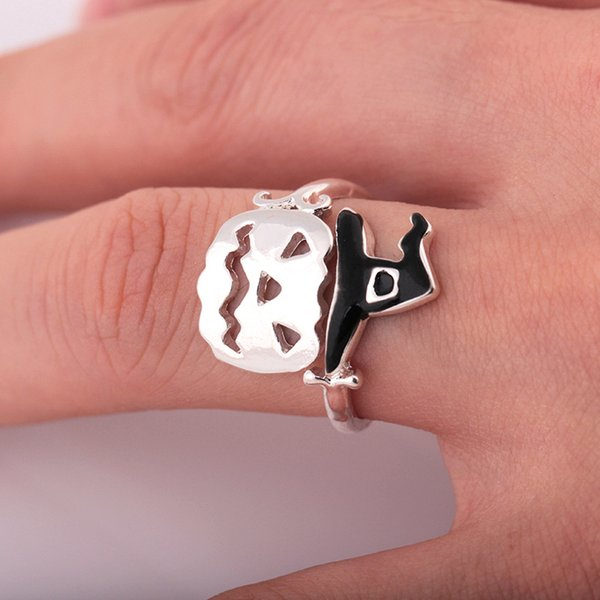 2018 Holiday Gift Cute Adjustable Witch Open Rings Halloween Pumpkin Finger Ring Women Fashion