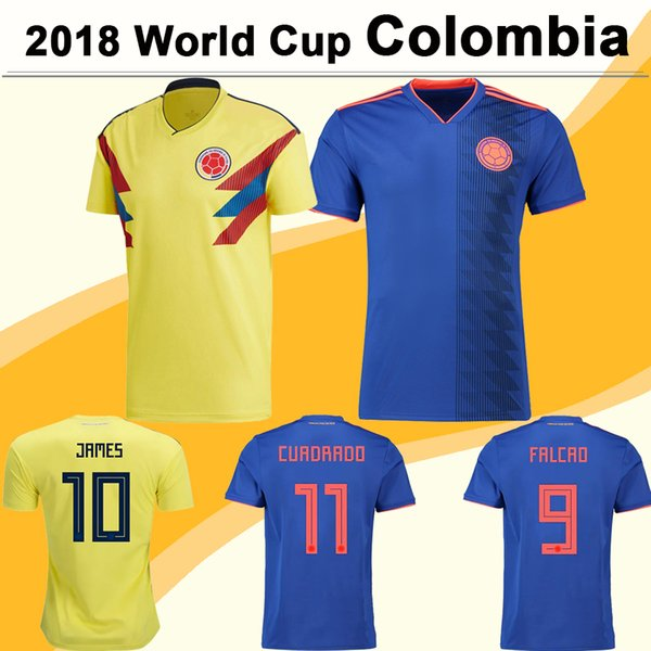 2018 World Cup FALCAO JAMES Soccer Jerseys CUADRADO BACCA SANCHEZ Home Away Men Football Jersey Colombia National Team AGUILAR Short Shirts