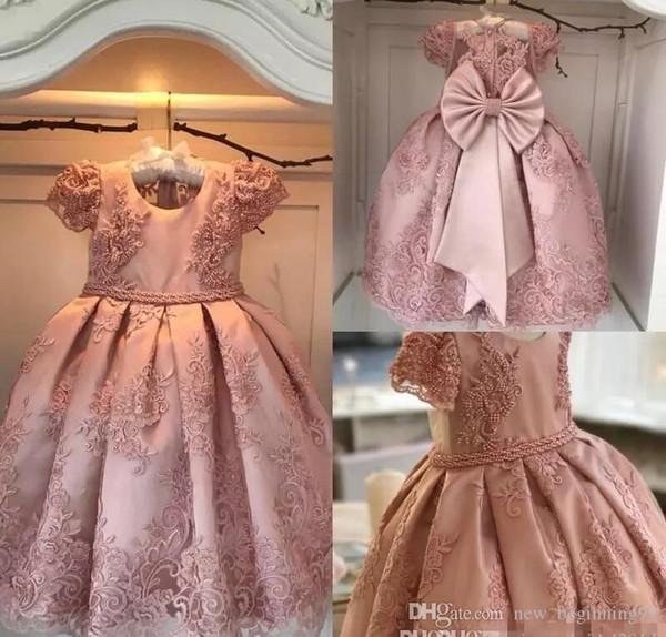 Luxurious Ball Gown Flower Girl Dresses 2018 Blush Pink Pearls Bow Floor Length Jewel Kids Formal Wear