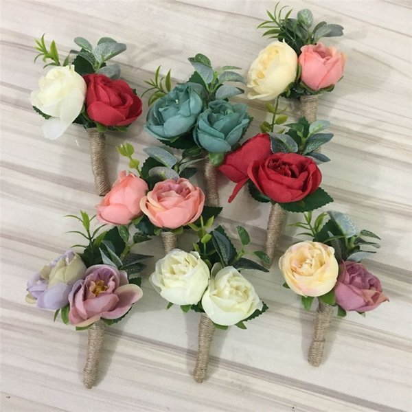 2018 Diy Boutonniere Groom Buttonhole Best Man Rose Flowers Wedding ...