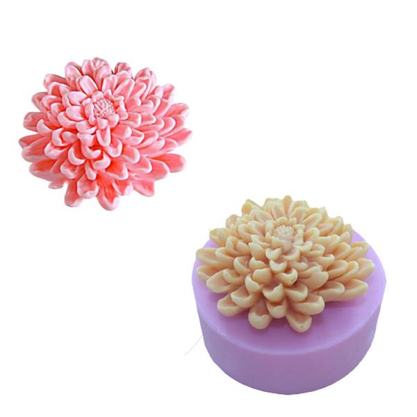 3D цветущие хризантемы цветок мыло плесень силиконовые формы мыло, свечи формы, ручной DIY украшения инструменты оптом