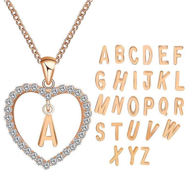 26 Letters A~Z Crystal Heart Rose Gold Silver Pendant Choker Women Mens Necklace Bracelet Iced Out Chains Designer Jewelry Gold Chain