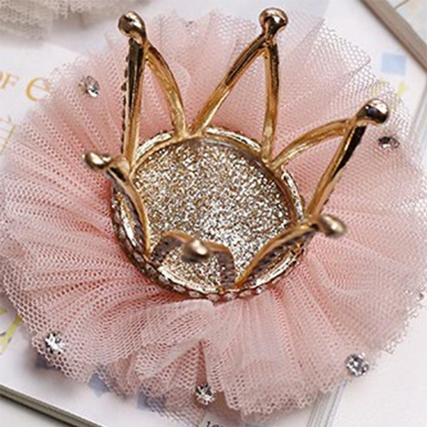 Flower Girls Imitated Diamond Crown Mesh Baby Hair Clip Hairpin Hair Accessories