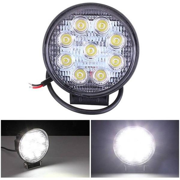 Barre de lumière LED 4Inch 27W ronde LED travail lumière Pod ampoule faisceau faisceau d'inondation hors route conduite antibrouillards légers imperméable à l'eau pour Jeep
