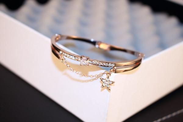 Fashon Crystal Star Cuff Bangle Bracelet For Women Sweet Jewelry Luxury Brand Rose Gold Color Rhinestone Bracelets & Bangles
