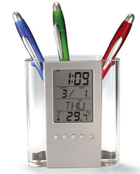 Electronic penholder calendar alphanumeric holder alarm clock electronic calendar pen transparent pen holder