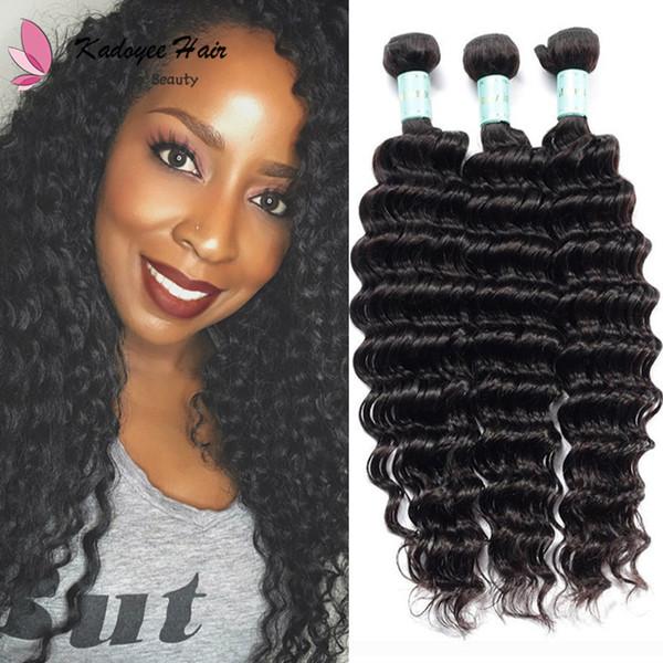 "Color 1B Black Deep Wave 3 Bundles 8""-30"" Unprocessed Human Hair Weave Extensions for African American Women eu uk us"