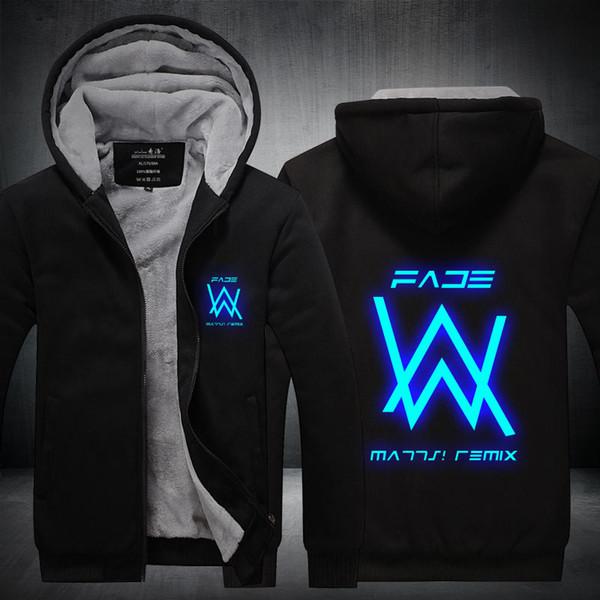 New Men's Winter Jackets and Coats Faded Alan Walker Hoodie Luminous Thick Zipper Sweatshirts M-5XL High Quality