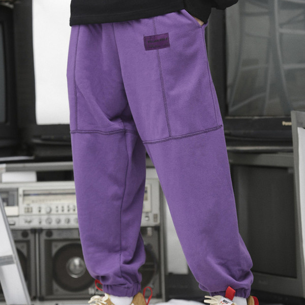18ss Fleece Material Thick Color Block Thread Loose Style Men's Pants Full Length High Street Pants Men Black Purple