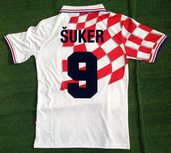 1998 Croatia World Cup 98 Home Jersey SUKER BOBAN Retro Shirts Jersey National Team Custom Vintage BILIC MODRIC