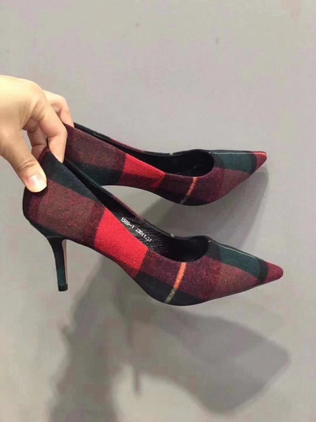 Brand New Women Ladies Pumps High Heel Grid Party Suede Genuine Leather Designer Luxury Shoes Size 35-39