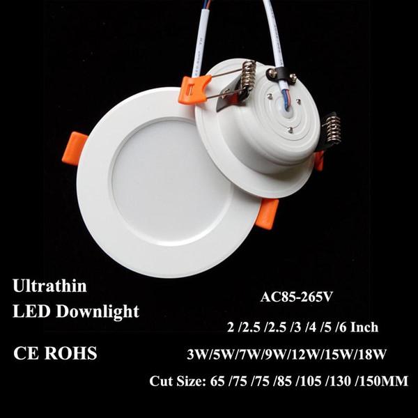 LED Sıva Altı Gömme Tavan Lambası 3W 5W 7W 12W 15W 18W Kesim 65/75 / 85mm 4-6 inç Ultra İnce Aydınlatma AC85V-265V Epistar SMD5730 Yuvarlak