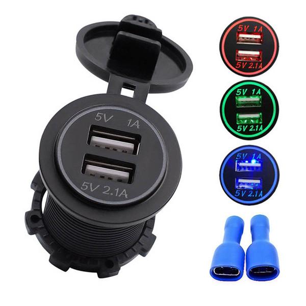 Universal Waterproof Dual Ports USB Car Charger 5V/3.1A Blue LED Power Adapter Socket for DC 12V-24V Cars Vehicles