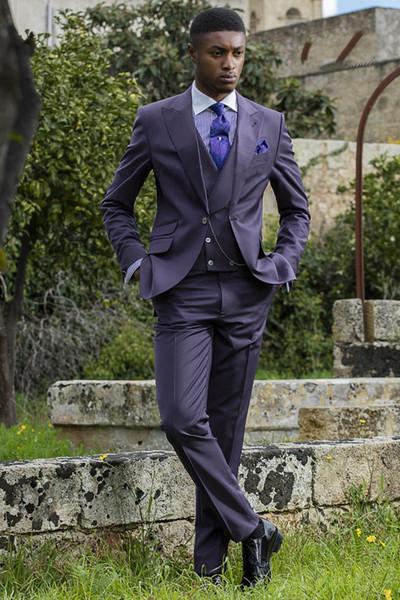 Modern Işık Mor Erkek Sabah Ceket Doruğa Yaka Üç Parça (Blazer + Pantolon + Yelek) Damat Giyim Seti Parti Moda Ofis Smokin Suits