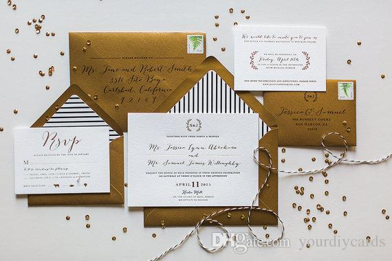 Gold Foil Wedding Invitation Floral And Elegant Invitation Card Letterpress Invitation Wedding Card With Lining Envelop Bargain Wedding Invitations