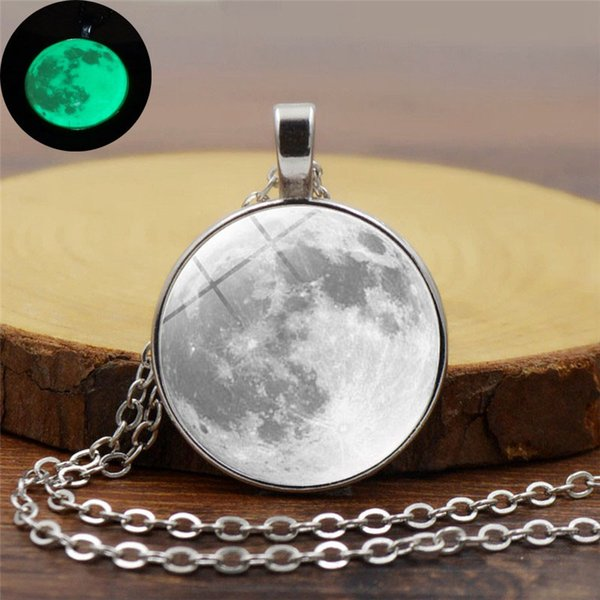 Glow In The Dark Moon Necklace 14mm Galaxy Planet Glass Cabochon Pendant Necklace Silver Chain Luminous Jewelry Women Gifts