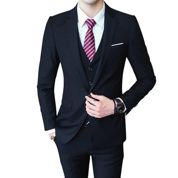 Custom Made 2018 Black Men Suits Tuxedos Slim Fit Wedding Suits Groomsmen Groom Best Men Business Blazer Formal Skinny Tuxedos Prom 3Piece