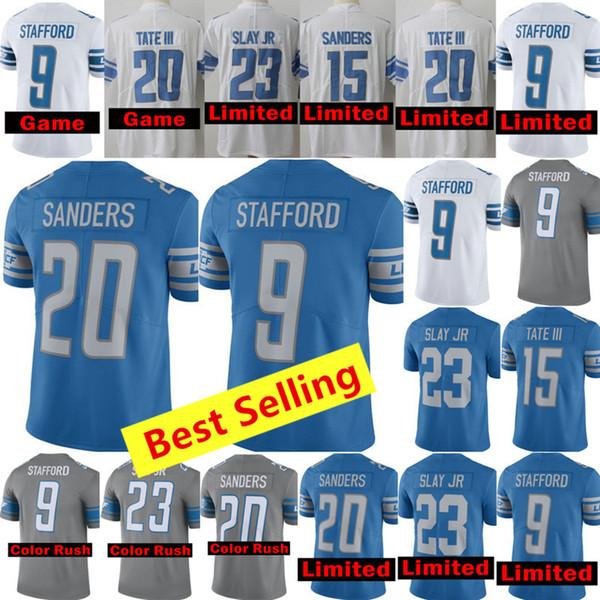 pretty nice dfdc6 bbed9 2018 Best Selling Jerseys Mens Detroit Lions Jerseys 9 Matthew Stafford  Jersey 20 Barry Sanders Jersey 23 Darius Slay Jr All Stitched Jerseys From  ...