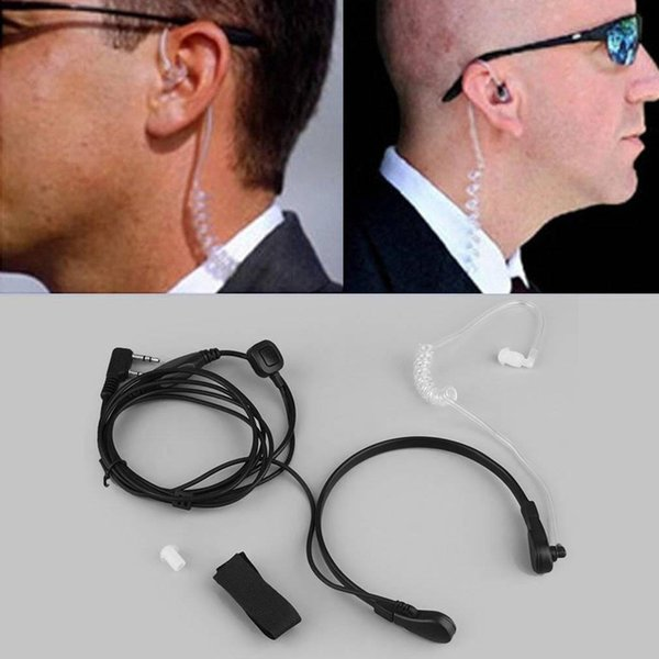 Black 2 PIN Security Throat Vibration Mic Headphone Headset Earpiece For Talkie