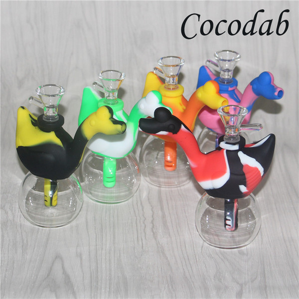 Hot sale Travel Mini Bongs The Martian Silicone Blunt Bong Bubbler Joint Smoking Bubble Small Water Pipe Swan Pipes Hand Pipe Hookahs DHL